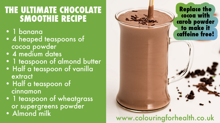 Ultimate Chocolate Smoothie Recipe (or Carob for a caffeine free drink) Vegan friendly