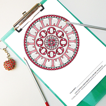 Love Mandala colouring page