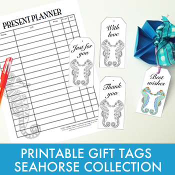 Printable gift tags and planner - Seahorse Collection
