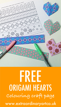 Free origami love heart colouring page and craft
