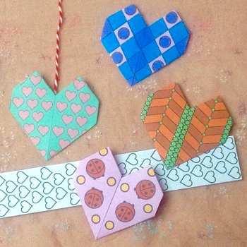 Free origami heart colouring page and craft