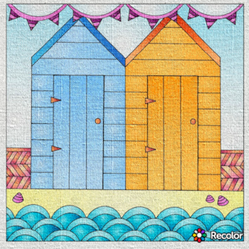 Beach huts, Drawn to the Ocean colouring book