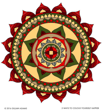Mandala, 5 Ways to Colour Yourself Happier colouring book