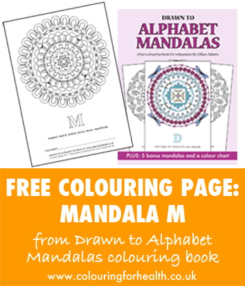 Free colouring page  Mandala M from Drawn to Alphabet Mandalas colouring book