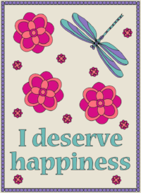 I deserve happiness  5 Ways to Colour Yourself Happier colouring book