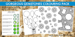 Gorgeous Gems colouring pack by Gillian Adams
