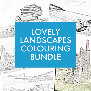 Lovely Landscapes greyscale colouring bundle