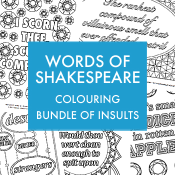 Words of Shakespeare colouring bundle of insults