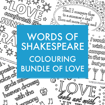 Words of Shakespeare colouring bundle of love