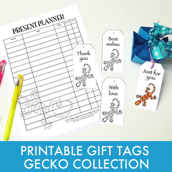 Printable gift tags and planner - Gecko Collection