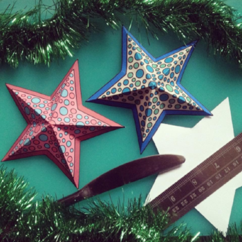 3D Christmas stars to print and colour