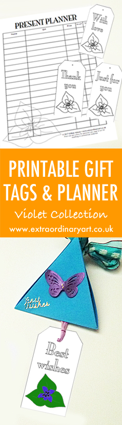 Printable gift tag and planner - Violet Collection
