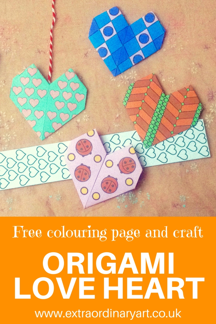 Origami love heart FREE colouring page and craft