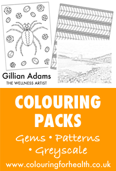 Colouring packs by artist Gillian Adams