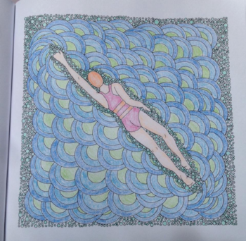 Swimmer, Drawn to the Ocean colouring book