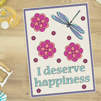 I Deserve Happiness colouring page for adults