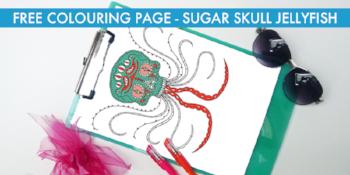 Free colouring page - Sugar skull jellyfish
