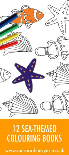12 sea themed colouring books