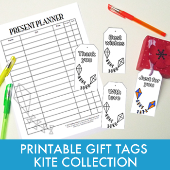 Printable gift tags and planner - Kite Collection