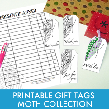 Printable gift tags and planner - Moth Collection