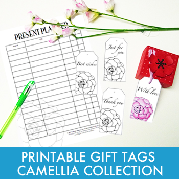 Printable gift tags and planner - Camellia Collection