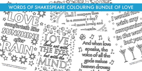 SHAKESPEARE COLOURING BUNDLE OF LOVE www.extraordinaryart.co.uk