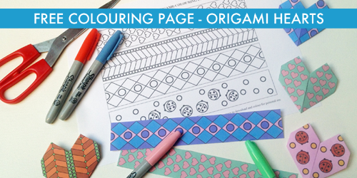 Free origami hearts colouring page and craft www.extraordinaryart.co.uk