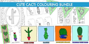 Cute Cacti colouring bundle