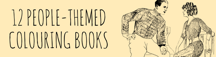 12 colouring books featuring people