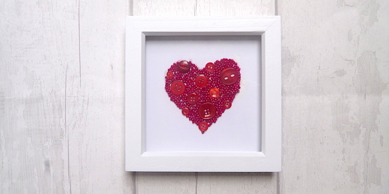Bead and button heart