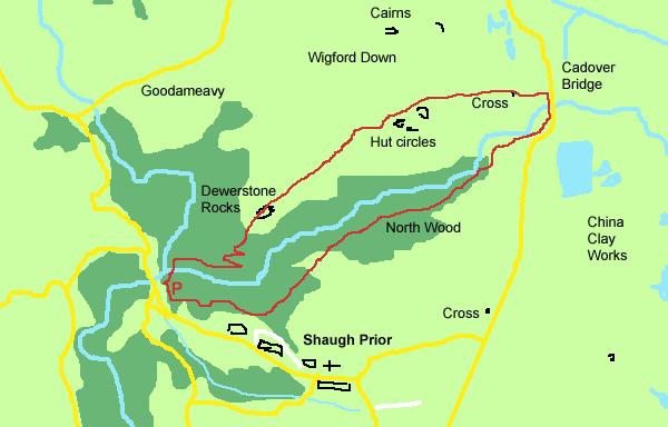 Dewerstone to Cadover map. © Divine Dartmoor Walks