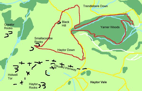 Yarner Woods walking map by Gillian Adams